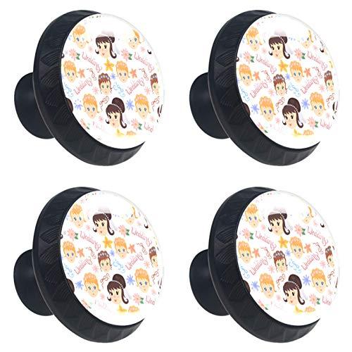 Perillas redondas con diseño de boda para cajón, 4 unidades, con tornillos para el hogar, la oficina, la cocina, el armario, el armario, los pomos redondos para muebles