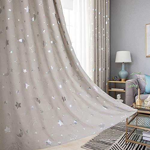 djryj Onvergelijkbare ster maan gordijn voor kinderen baby meisjes jongens kamer cartoon blauw gordijn voor ramen slaapkamer kind paneel draper marineblauw raam gordijnen