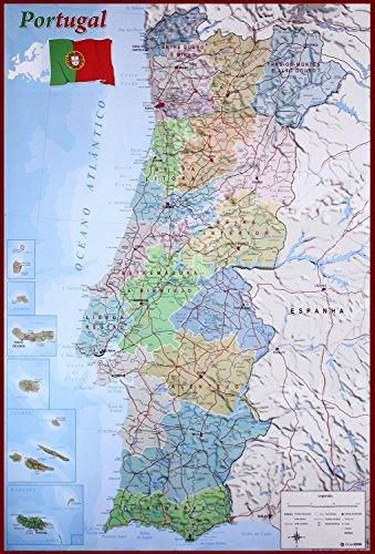 Close Up Mapa Físico Político de Portugal (61cm x 91,5cm)