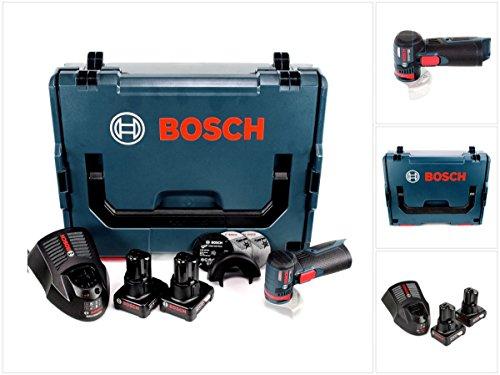 Bosch Amoladora angular GWS 12V-76 con batería, 12 V, 76 mm, en L-Boxx, incluye 2 baterías de 6,0 Ah y cargador.