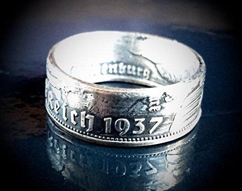 Coinring, Münzring, Ring aus Münze (2 Mark Deutsches Reich 1937), 625er Silber - Double Sided coin ring - Größe 51 (16.2), handgeschmiedetes Unikat