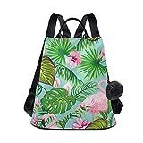 Flamingo Blumen-/Blatt-/Vogel-Rucksack, Geldbörse für Frauen, Anti-Diebstahl, modischer Rucksack, Schultertasche