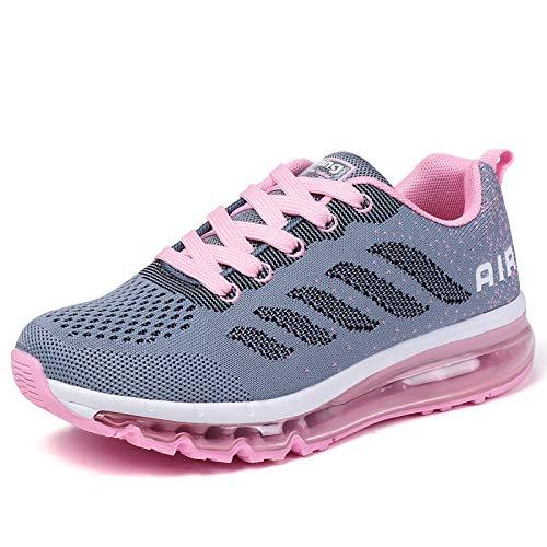 smarten Sportschuhe Herren Damen Laufschuhe Unisex Turnschuhe Air Atmungsaktiv Running Schuhe mit Luftpolster Grey Pink 39 EU