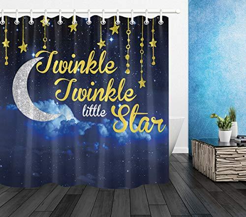 Cortinas de Ducha de Tela Starry Sky Moon Space Twinkle Twinkle Little Star