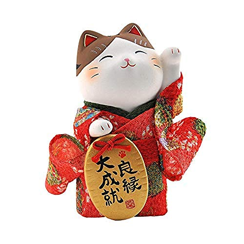 Animal Sculpture Standbeelden Keramische Kat Goud Kleur Kleine Kimono Decoratie Ornamenten Huisdecoratie Kantoor Ambachtelijke Geschenken