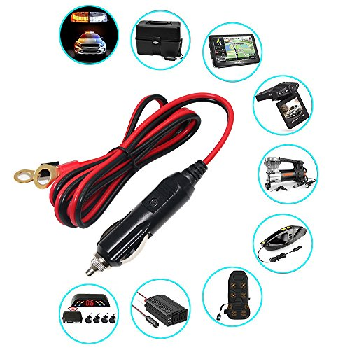Male Cigarette Lighter to O Ring Terminal Harness Extension Cable - 12V-24V Power Supply Cord Adapter Fuse 15A 16AWG Cable Wire for Car Inverter Air Pump Sprayer Compressor and DIY (3FT)