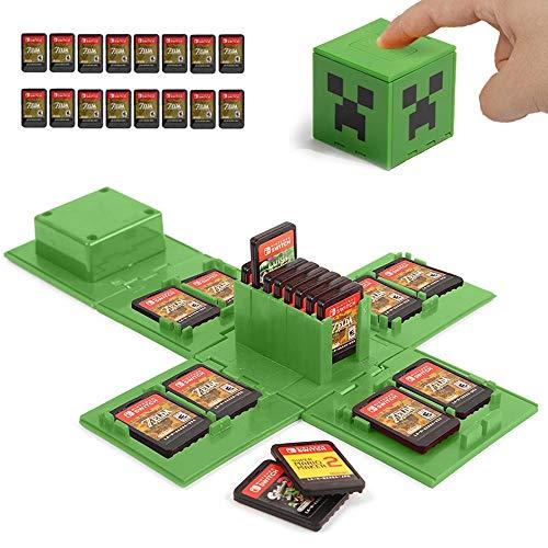 KUEEN Custodia per Nintendo Switch - Contiene Fino a 16 Giochi Sistema di Conservazione Protettivo Organizzatore Card Giochi Involucro Rigido con 16 Slot Inserimenti (Minecraft Green)