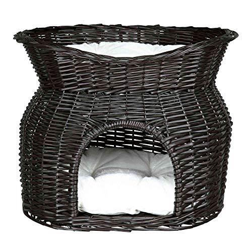 Trixie 2872 Weidenkorb mit Liegedach und 2 Kissen, 54 × 43 × 37 cm, schwarz