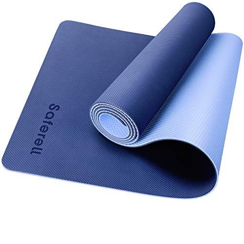 Saferell Yogamatte Gymnastikmatte rutschfeste aus TPE,Hypoallergen sportmatte mit Tragegurt,Fitnessmatte für Yoga, Pilates, Fitness...