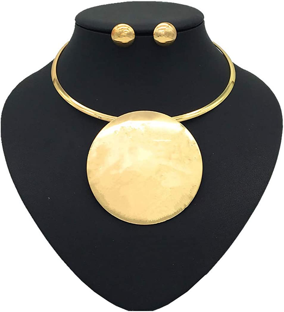 deladola Statement Choker Earrings Set Gold Round Pendant Collar Necklaces Boho African Necklace Accessories for Women and Girls