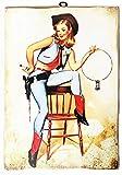 KUSTOM ART Cuadro de estilo vintage Pin Up Cowgirl de colección, impresión sobre madera