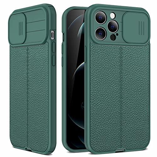 Miagon Couvre-Objectif Coulissant Coque pour iPhone 6/6S,Litchi Motif Protection de la Caméra Antichoc Étui Mince en Silicone Pare-Chocs,Vert