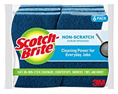 Non-scratch scouring pad cuts through messes while protecting your surfaces Scouring pad on one side and absorbent sponge on the other for multiple uses Durable materials stand up to stuck-on grime Scotch-Brite Brand is the #1 selling scrub sponge br...