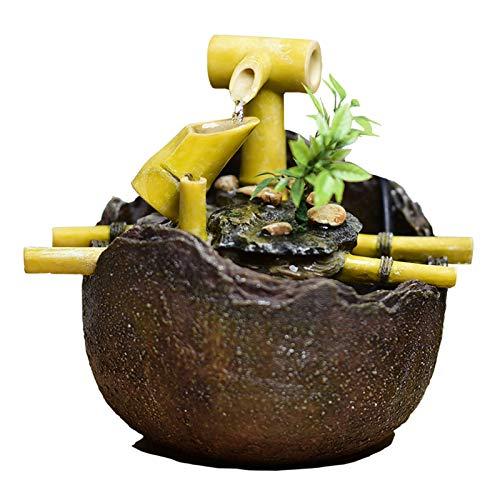 YHDP Zen Fuente De Agua De Escritorio Decoración,Creativo Bambú Eléctrico Waterscape Fuente...