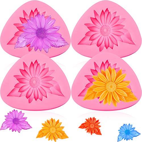 4 Pieces Chrysanthemum Silicone Mold, 3D Chrysanthemum Flower Fondant Cake Baking Molds for DIY Cake Candy Mousse Dessert Ice Cream Cupcake Handmade Soap, Pink