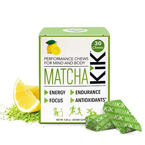 Matcha KiK Performance Chews - Energy, Mental Focus, Endurance. Healthy Vegan, Gluten Free, Non GMO, Keto Friendly Sport Chews with Premium Japanese Matcha, D-Ribose and Green Tea Caffeine. 30 Chews.