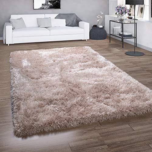 Paco Home Hochflor-Teppich, Shaggy Für Wohnzimmer, Mit Glitzer-Garn, Einfarbig In Beige, Grösse:120x160 cm