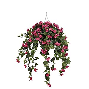 House of Silk Flowers Artificial Pink Bougainvillea in Hanging Beehive Basket