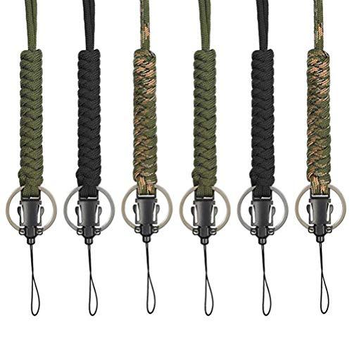 BESPORTBLE 6 stücke Paracord Lanyard Keychain Utility Halskette Seil Schnur Handschlaufe Fallschirm Handy Kamera ID Halter für Outdoor Wandern Camping (jeweils 2 von Schwarz, Armee Grün, Camouflage)