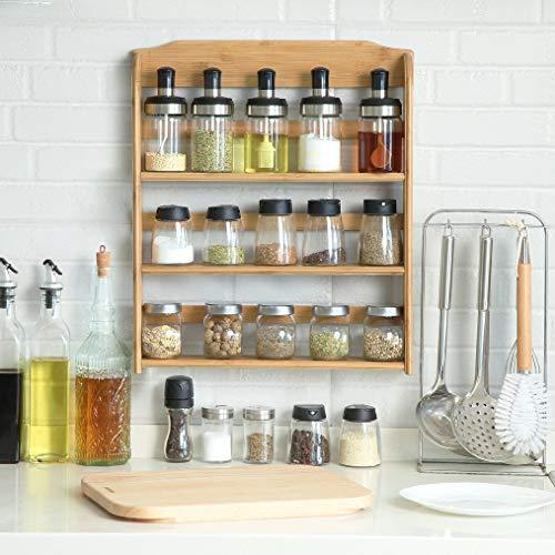 Ophangbaar kruidenrek voor 15 kruidenpotjes - Keukenrek/specerijen rek van bamboe hout - 3 laags keukenorganizer - Decopatent
