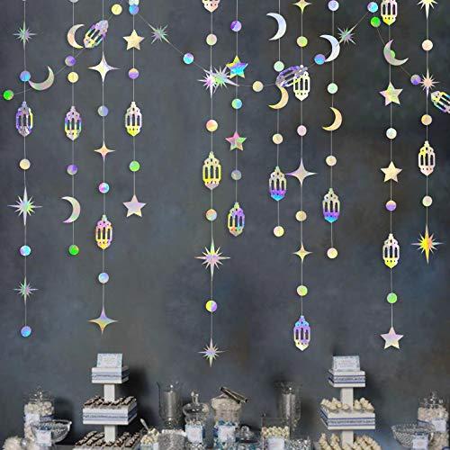 Iridescent Eid Mubarak Ramadan Decorations Hanging Rainbow Star Moon Circle Dot Crescent Lamp Garland Streamer Backdrop Banner Decorations for Happy Ramadan Islam Muslim Wedding Birthday Party