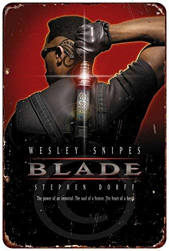 Yilooom Blade Movie Poster Wesley Snipes Vintage Retro Vintage Metal Signs Novelty Wall Plaque Wall Art Decor Accessories Gifts