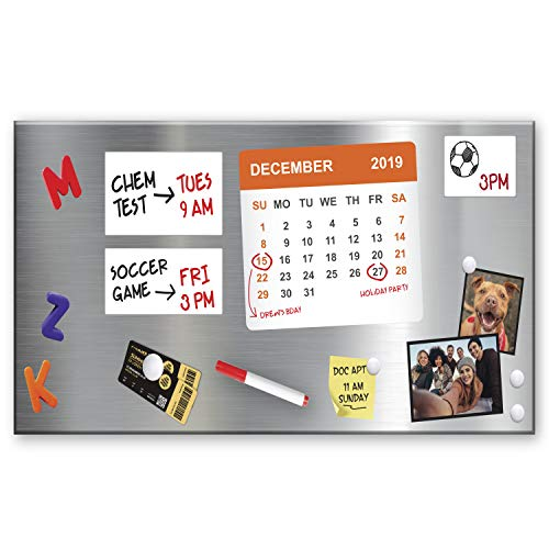 Essentially Yours Magnet and Message Board   Large Mountable 30 x 14 x 0.7 Inch Steel Bulletin Board, 2 Magnetic Dry Erase Pads Included (Silver)