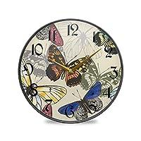 12インチの丸い壁の時計カチカチ音をたてないサイレントバッテリー式オフィスキッチンベッドルーム家の装飾-カラフルな蝶