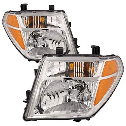 HEADLIGHTSDEPOT Chrome Housing Halogen Headlights Compatible with Nissan Frontier Pathfinder Includes Left Driver and Right Passenger Side Headlamps