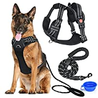 """✔️ LARGE DOG HARNESS--No pull, walking pet harness with 2 metal rings and handle adjustable reflective breathable oxford soft vest easy control front clip harness,L size,Chest: 17""""-34"""",Neck:18""""-26"""". Recommended breeds: medium to large dogs, such as g..."""
