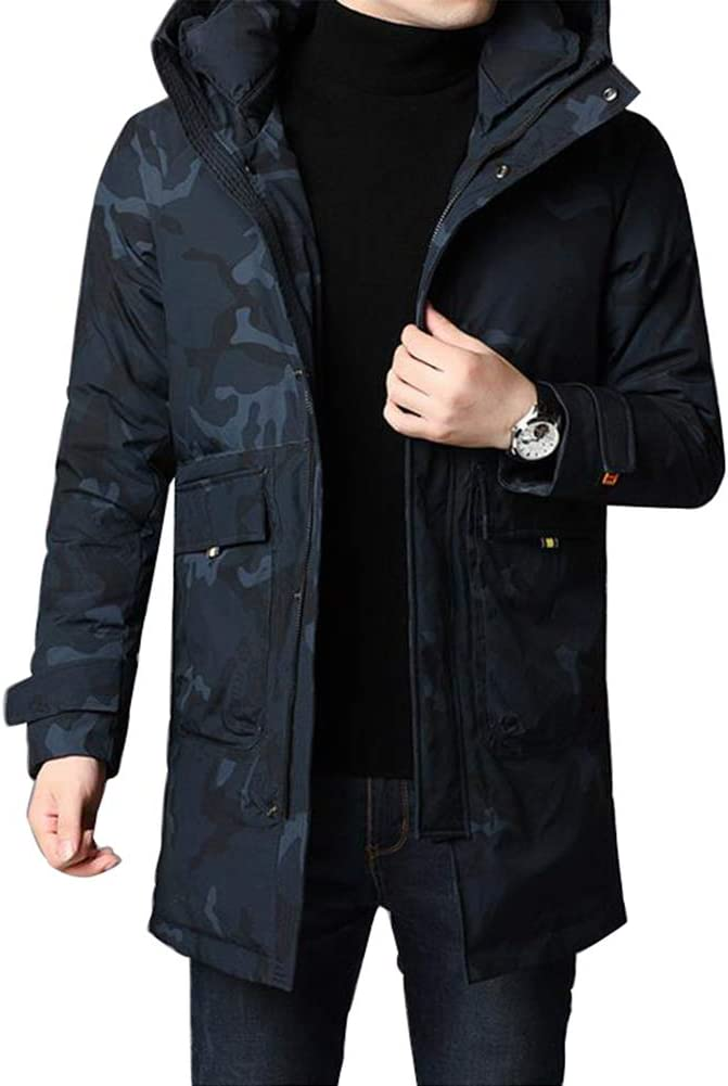 Down jacket Winter Camouflage, Medium Long Hooded Thicken Jacket, Middle-Aged Men's Warm Casual Jacket, Filling: 90% White Duck Down (Green, Blue)