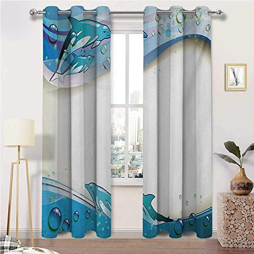 "igoga sports Bedroom Curtain Ocean All Season Thermal Insulated Curtains Illustration of Cute Dolphins on Sea Waves with Water Drops Framework Abstract 2 Grommet Curtain Panels, 38"" W x 45"" L"