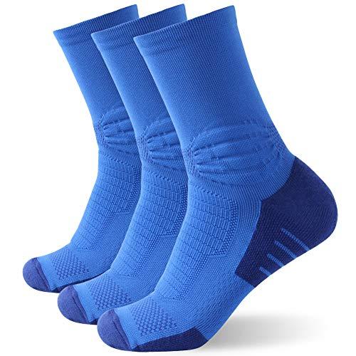 Insox Unisex Breathable Hiking Socks, Womens Mens Short No-slip Outdoor Comfortable Running Jogging Basketball Crew Socks for Plantar Fasciitis 3 Pairs (Blue, L/XL)