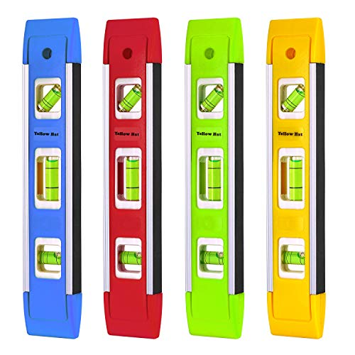 9 Inch Aluminum-Sided Torpedo Level, 4-Pack Level Spirit Bubble level (Blue/Green/Yellow/Red)