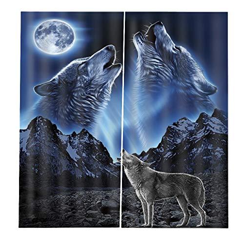 Homyl 2pcs Verdunkelungsvorhang Kräuselband Gardinen Vorhang Duschvorhang für Wohnzimmer Badezimmer - Wolf