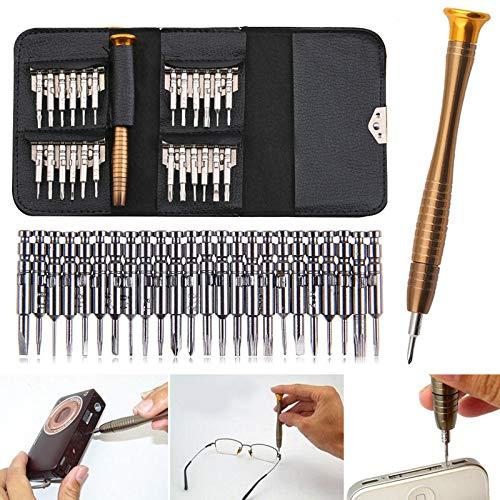 lefeindgdi Juego de 25 herramientas de precisión para reparación de gafas, portátil, con funda