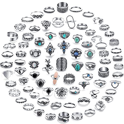 82 Pcs Vintage Silver Knuckle Rings Set for Women, Bohemian Stackable Joint Finger Rings, Retro Stone Crystal Stacking Midi Rings Pack