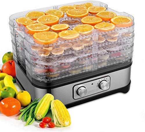 Meykey Dörrautomat mit Temperaturregler, Dörrgerät für Lebensmittel, Obst- Fleisch- Früchte-Trockner, Dehydrator, BPA-frei, 5 Etagen 250W/LCD