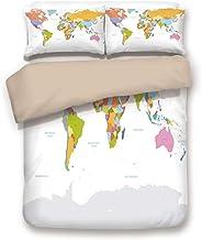 XINGAKA Juego de Funda nórdica, Mapa, Mapa político Altamente detallado del Mundo Sistema de posicionamiento Global Gráfico Colorido, Decorativo Juego de Ropa de Cama de 3 Piezas 3 Fundas de Almohada