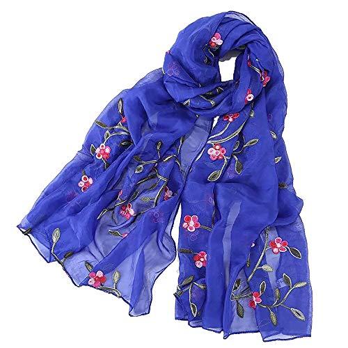 Pluto & Fox Fular De Mujer Bordado Con Flores Bufanda De Seda Diseño Retro Elegante Pañuelo cuello Estola (Azul 1, 75cm*175cm)