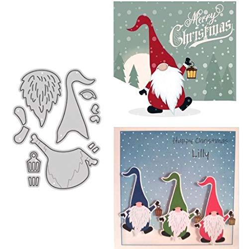 zmk Weihnachtsmann-Stanzschablone mit langem Hut, zum Basteln, für Sammelalben, Papierkarten, Alben, Schablonen, Metallschablonen für Kartenherstellung