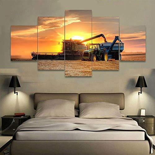 Msbvf 5 Stück Leinwand auf Farm Traktor Leinwand Bild Malerei Dekor Druck Poster Wandkunst + Sunset Farm Traktor + Sunset Farm Traktor