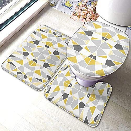 Qinzuisp Geometrisch vloerkleed, mosterdgeel en grijs, zacht comfort, flanel, badmat, set van 3 stuks, absorberend, zachte woonkamer, rugkussen, badmat, contour, antislip badkamer