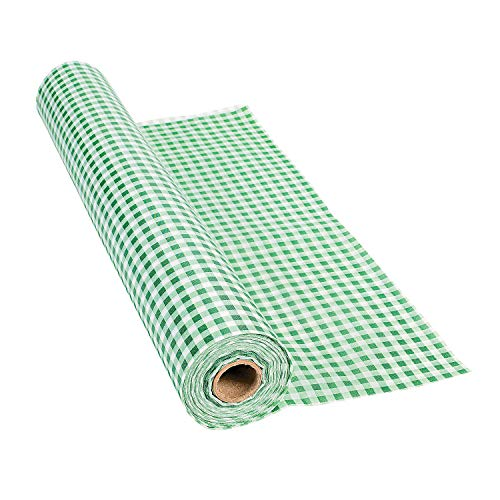 Green Gingham Plastic Tablecloth Roll - Party Supplies - 100 feet