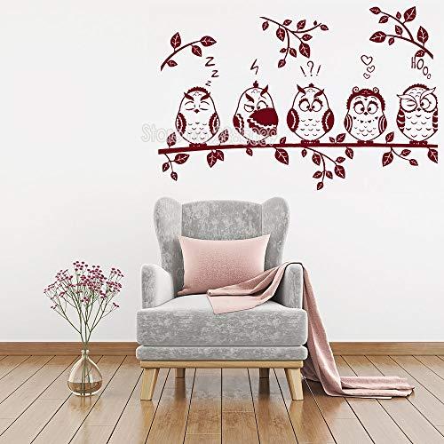 M 85 cm x 56 cm Nette Eule Wandaufkleber Für Wohnzimmer Sofa Hintergrundbild Eulen Sitzen auf einem Ast Wandtattoo Moderne Kunst Wohnkultur LC270