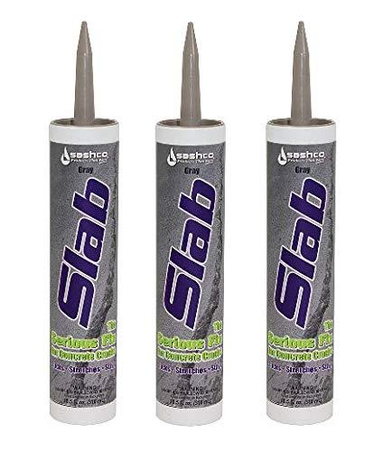 Sashco Slab Concrete Crack Repair Sealant, 10.5 Ounce Cartridge, Gray (Pack of 3)