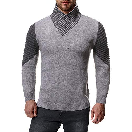 DISCOUNTL Sweatshirt grau, Sweatshirt Herren, Sweatshirt, Herbst und Winter lässige Herrenpullover, Rollkragenpullover Herren