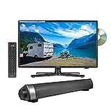 Reflexion 22 Zoll Wide-Screen LED-Fernseher mit Soundbar für Wohnmobile mit DVB-T2 HD, DVD-Player, Triple-Tuner und 12 Volt KFZ-Adapter (12 V/24 V, Full HD, HDMI, USB, EPG, CI+, DVB-T Antenne)