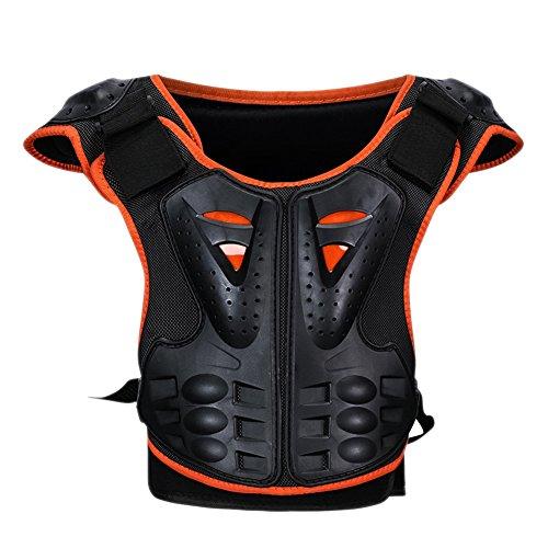 Aesy Chaleco de Protector Armadura, Niños Respirable Reflexivo Ajustable Desmontable Protector Chaleco, para Al Aire Libre Motocicleta Ciclismo Patinaje Esquiar (S, Naranja negro)