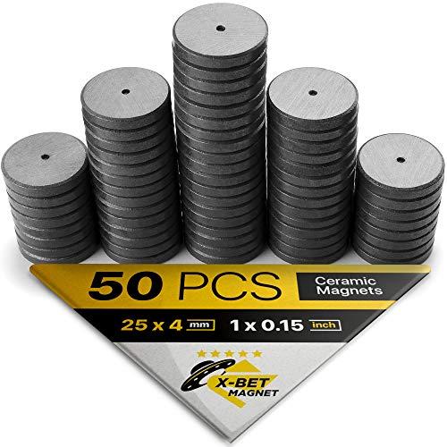 X-bet MAGNET™ Imanes Cerámicos 50 uds - 25 mm Disco redondo -...